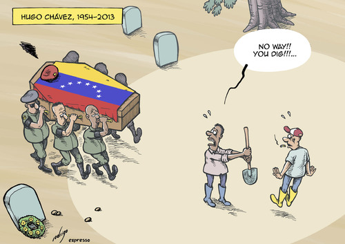 Cartoon: Almost dead Chavez (medium) by rodrigo tagged venezuela,hugo,chavez,death,funeral,caracas,repression,freedom,press,expression