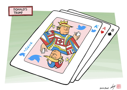 Cartoon: Donalds trump (medium) by rodrigo tagged donald,trump,usa,us,united,states,card,game,international,politics,twitter