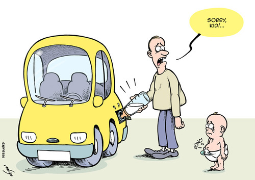 Cartoon: Feeding the car (medium) by rodrigo tagged fuel,price,oil,cost,gas,energy,crisis,car,transport,europe,tax,diesel,rise,usa