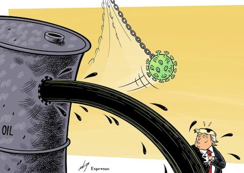 Cartoon: Infected Oil (medium) by rodrigo tagged covid19,coronavirus,pandemic,epidemic,economy,oil,prices,fuel,energy,markets,trump