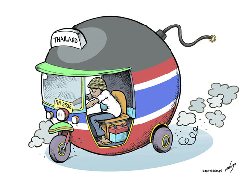 Cartoon: Martial Thailaw (medium) by rodrigo tagged thailand,martial,law,protests,riots,tuktuk,bomb