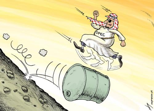 Cartoon: Oil price slide (medium) by rodrigo tagged opec,oil,brent,price,dollars,surplus,export,arab,cartel,gas,fuel