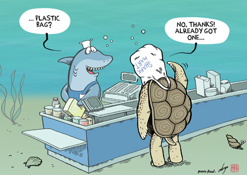 Cartoon: Plastific Ocean (medium) by rodrigo tagged plastic,pollution,environment,life,earth,education,recycling,ocean,sea,turtles,sharks,whales,fish,nature,ecology