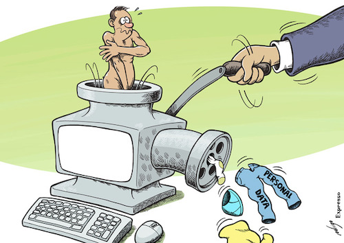 Cartoon: Privacy grinder (medium) by rodrigo tagged facebook,privacy,personal,data,internet,tech,society,cybersecurity