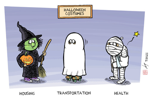 Cartoon: Social Halloween (medium) by rodrigo tagged halloween,witch,ghost,mummy,costumes,social,transportation,housing,health