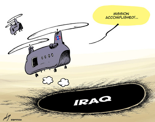 Cartoon: US withdrawal from Iraq (medium) by rodrigo tagged us,usa,united,states,iraq,troops,military,withdrawal,army,air,force,navy