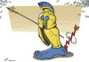 Cartoon: Achilles heel of world economy (small) by rodrigo tagged european union eu world economy finance euro recession crisis achilles heel