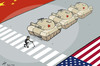 Cartoon: Chen crosses the big street (small) by rodrigo tagged chen,guangcheng,china,activist,blind,freedom,democracy,repression,political