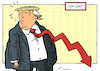 Cartoon: Down Jones (small) by rodrigo tagged trump,twitter,remark,dow,jones,markets,wall,street,stock,market