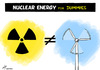 Cartoon: Nuclear versus green power (small) by rodrigo tagged nuclear,energy,power,plant,eolic,natural,green,renewable,source,electric,solar,biofuel,biodiesel,global,warming