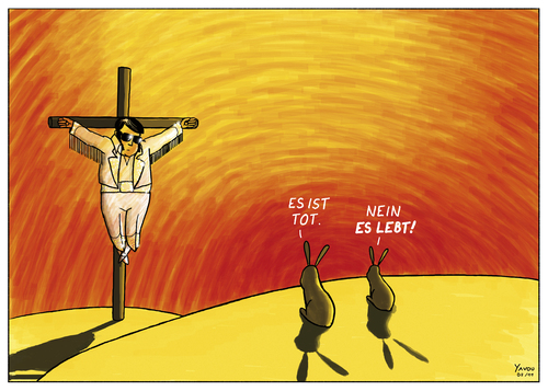 Cartoon: ES LEBT! (medium) by Yavou tagged elvis,aaron,presley,the,king,jesus,yavou,kreuzigung,crucifixion,kreuz,gekreuzigt,hasen,kaninchen,rabbit,cartoon,desert,wüste,elvis presley,pop,king of pop,kreuzigung,jesus christus,hasen,gekreuzigt,kreuz,wüste,religion,elvis,presley,king,of,jesus,christus