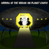 Cartoon: Arrival (small) by Yavou tagged cartoon,arrival,vegans,yavou,ufo,spaceship,sheep,vegan,extraterrestials,visitors