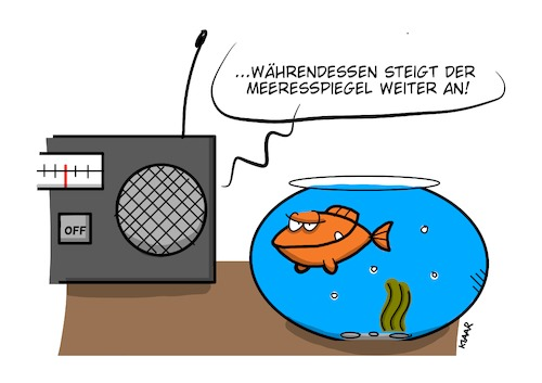 Cartoon: Gewinner (medium) by NA KLAAR tagged klima,meeresspiegel,mensch,fisch,paket