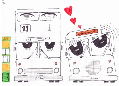 Cartoon: Liebe - Love (medium) by Reibebahn tagged bus,verkehr,liebe,love,traffic