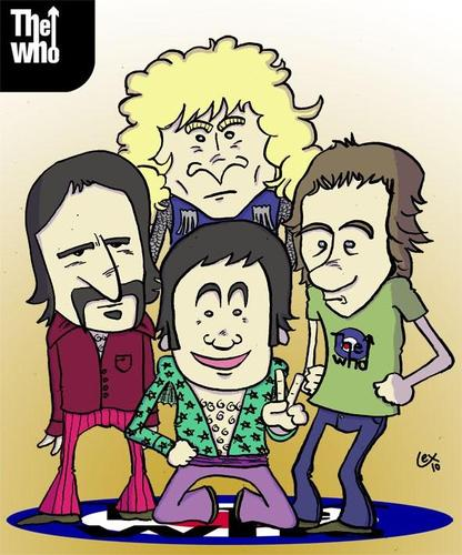 Cartoon: The Who (medium) by lexgromiko tagged the,who,band,townshend,rock