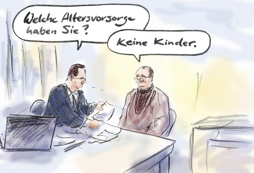 Cartoon: Altersvorsorge (medium) by Bernd Zeller tagged altersarmut,altersvorsorge,vorsorge,rente,demografie,demografischer,faktor,senioren,kinder,familie