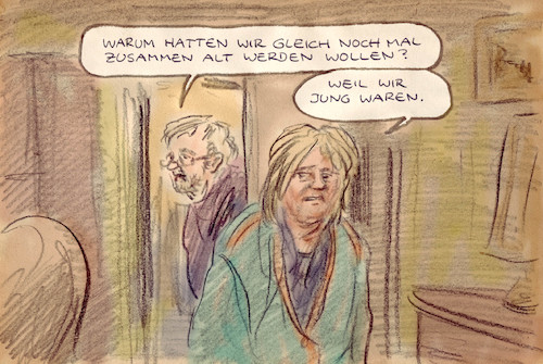 Cartoon: erfüllt (medium) by Bernd Zeller tagged ehe