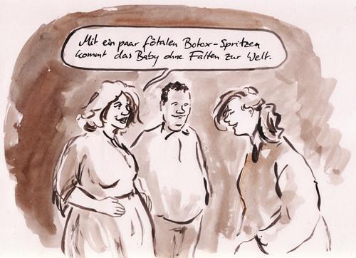 Cartoon faltenfreie geburt medium by bernd zeller tagged botox baby