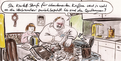 Cartoon: Kaffeepreise abgesprochen (medium) by Bernd Zeller tagged kaffeepreise,kartell