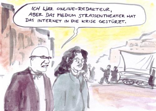 Cartoon: Konkurrenz (medium) by Bernd Zeller tagged online,internet,medien,plattform,portal,community,redakteur,journalismus,straßentheater