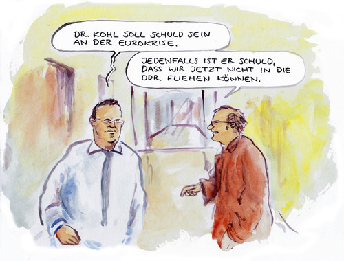 Cartoon: Krisenschuld (medium) by Bernd Zeller tagged eurokrise,kohl,ddr