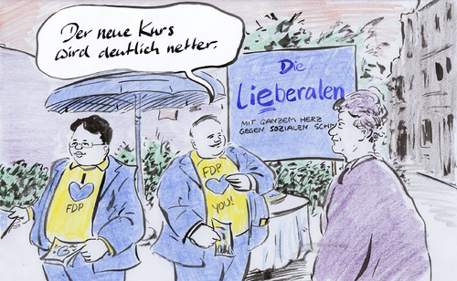 Cartoon: Neuer Kurs (medium) by Bernd Zeller tagged fdp,westerwelle