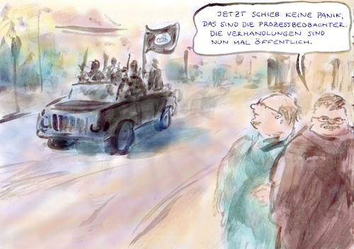 Cartoon: Prozesse (medium) by Bernd Zeller tagged justiz