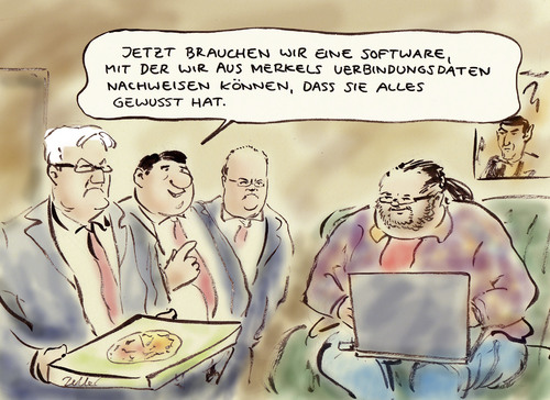 Cartoon: Regierung war informiert (medium) by Bernd Zeller tagged nsa,secret,service,internet,social,network,daten,usa,spähprogramm,prism,merkel,spd