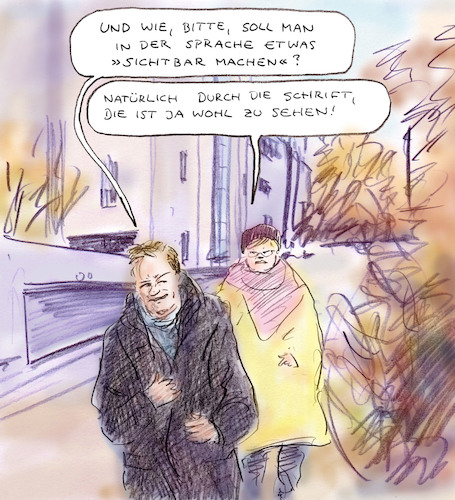 Cartoon: Sternchendebatte (medium) by Bernd Zeller tagged gender