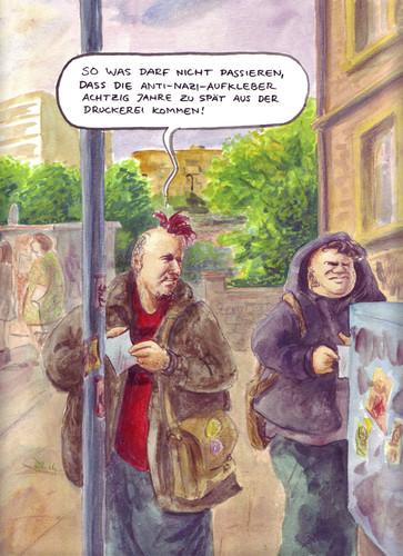 Cartoon: zu spaet (medium) by Bernd Zeller tagged punks,punk,nazi,demo,demonstration,rechts,links,szene