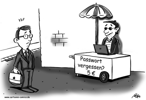 Cartoon: Computer-Cartoon No. 11 (medium) by Portraits-Karikaturen tagged cartoon,karikatur,illustration,cartoons,karikaturen,illustrationen,datenschutz,datenschützer,computer,pc,it,sicherheit,passwort