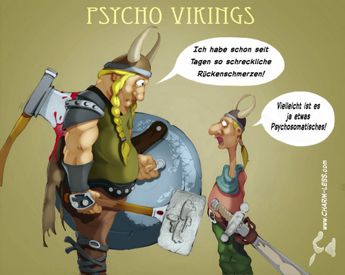 Cartoon: Psycho Vikings 1 (medium) by Charmless tagged psychosomatisch,wikinger