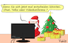 Cartoon: Weihnachten light (small) by Fish tagged weihnachten,feiern,familie,corona,beschränkungen,lockdown,light,heiligabend,familienfest,telko,chat,videokonferenz,internet,wlan