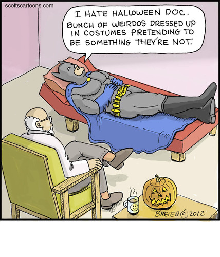Cartoon: Bat Couch (medium) by noodles tagged batman,psychologist,halloween,costumes,noodles