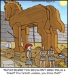 Cartoon: Trojan Horse (small) by noodles tagged trojan,horse,virus,norton,mcafee,computer