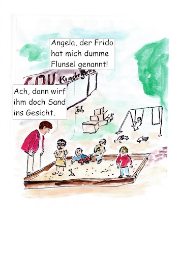 Cartoon: gestern im CDU Kindergarten (medium) by Stefan von Emmerich tagged cdu,kindergarten,kramp,karrenbauer,friedrich,merz,angela,merkel