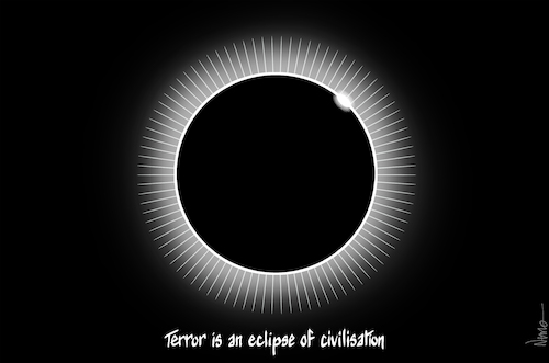 Cartoon: Eclipse of Civilisation (medium) by NEM0 tagged terror,eclipse,sun,solar,belief,indoctrination,dogma,religion,fear,obscurantism,propaganda,brainwash,fakenews,hate,terror,eclipse,sun,solar,belief,indoctrination,dogma,religion,fear,obscurantism,propaganda,brainwash,fakenews,hate