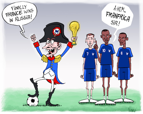 Cartoon: Franfrica Wins in Russia (medium) by NEM0 tagged fifa,world,cup,football,futbol,mundial,mondial,soccer,croatia,macron,napoleon,win,russia,fff,federation,francaise,de,footbal,griezmann,pogba,mbappe,france,africa,franfrica,nem0,nemo,fifa,world,cup,football,futbol,mundial,mondial,soccer,croatia,macron,napoleon,win,russia,fff,federation,francaise,de,footbal,griezmann,pogba,mbappe,france,africa,franfrica,nem0,nemo