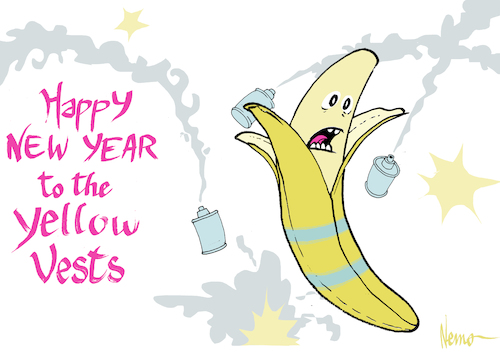 Cartoon: Happy New Year Yellow Vests (medium) by NEM0 tagged macron,france,new,year,yellow,vests,protests,riots,banana,carbon,tax,middle,class,warfare,unemployment,climate,change,paris,agreement,un,sustainability,nemo,nem0,macron,france,new,year,yellow,vests,protests,riots,banana,carbon,tax,middle,class,warfare,unemployment,climate,change,paris,agreement,un,sustainability,nemo,nem0