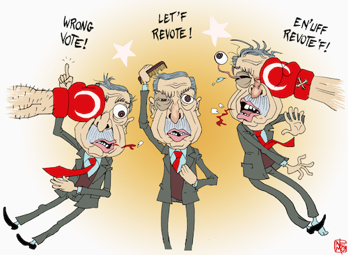 Cartoon: Istanbul Revote Hits Erdogan (medium) by NEM0 tagged erdogan,turkey,istanbul,elections,revote,akp,dictator,mayor,vote,voters,opposition,chp,party,parties,democracy,oppression,repressive,oppressive,autoritarian,dissent,dissidents,nemo,nem0