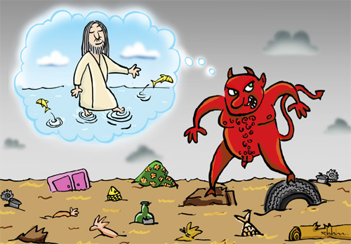 Cartoon: Dirty Water (medium) by elihu tagged seas,waters,pollution,jesus,evil,environment
