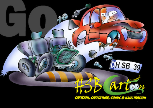 Cartoon: Airbrush Illustration car (medium) by HSB-Cartoon tagged airbrush,illustration,cartoon,car,traffic,cartoonmotiv,acrylic,acryl,art,hsbcartoon,driver