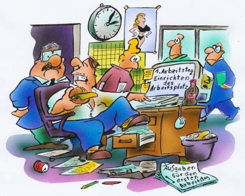 Cartoon ersetr arbeitstag medium by hsb cartoon tagged arbeit büro