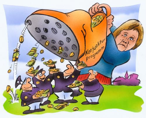 Cartoon: Konjunkturprogramm (medium) by HSB-Cartoon tagged konjunkturprogramm,politik,merkel,politiker,schulden,geld,aufschwung,krise,flaute,binnenmarkt,markt,wirtschaft