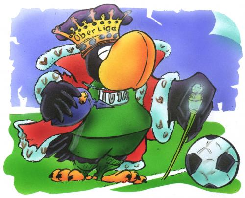 Cartoon: Preussenkönig (medium) by HSB-Cartoon tagged sport,adler,fussball,oberliga,sport,sc preussen münster,regionalliga,adler,fussball,oberliga,adel,nobel,königsliga,dfb,deutschland,bundesliga