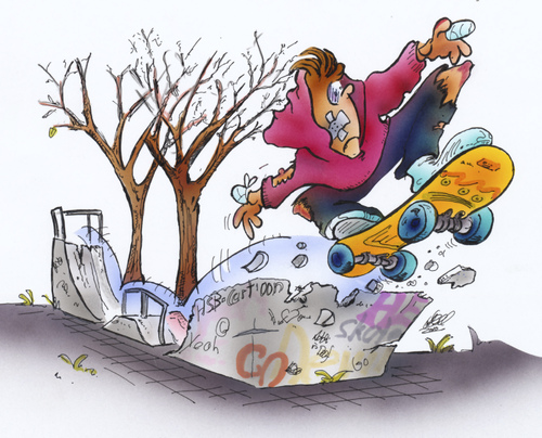 Cartoon: skater (medium) by HSB-Cartoon tagged skater,skateboard,teens,jugend,skaterbahn,halfpipe