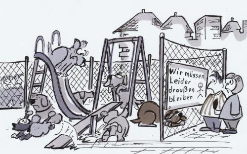 Cartoon: Spielplatz (medium) by HSB-Cartoon tagged spielen,spielplatz,kinder,hunde,schaukel,rutsche,kids