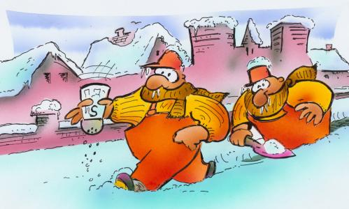 Cartoon: Streudienst (medium) by HSB-Cartoon tagged winter,streudienst,stadt,schnee,frost,kälte,winterdienst