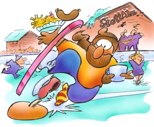Cartoon: wintersports (medium) by HSB-Cartoon tagged winter,ski,sport,snow,skate,sledge,sled