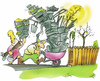 Cartoon: allotment holder (small) by HSB-Cartoon tagged garden,flower,fence,gardener,gärtner,garten,zaun,schubkarre,allotment,holder,cartoon,caricature,airbrush,hsb